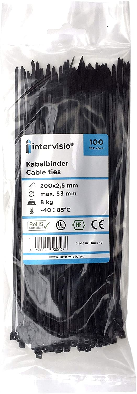 100 bridas de nailon con cierre autoadhesivo para cables 2,5 x 200 mm color blanco y negro